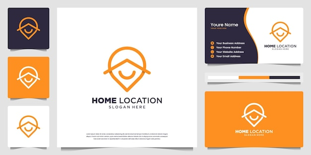 Minimalist elegant home location logo and business card design