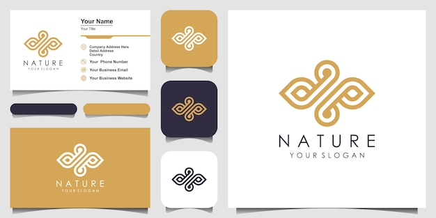 ミニマリストのエレガントな葉とラインアートスタイルのオイルのロゴ。美容、化粧品、ヨガ、スパのロゴ。ロゴと名刺のデザイン。