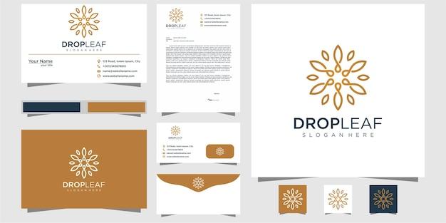 Минималистичный элегантный логотип из листьев и масла в стиле штрихового искусства. логотип для красоты, косметики, йоги и спа. дизайн логотипа и визитки.