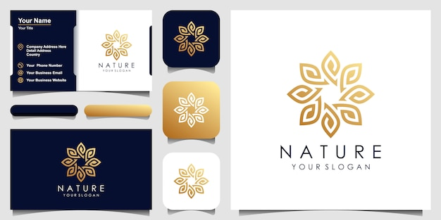 Minimalist elegant leaf and flower rose logo design for beauty, cosmetics, yoga and spa. logo design and business card