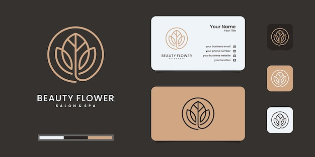 Minimalist elegant leaf and flower rose logo design