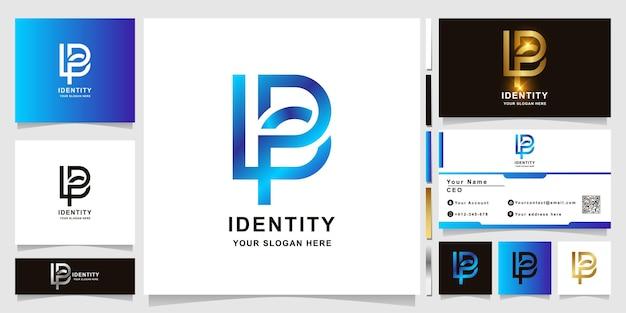 名刺デザインのミニマリストエレガントな手紙lpbまたはlbモノグラムロゴテンプレート