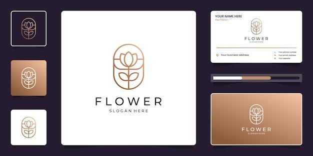 Минималистичный элегантный логотип цветка лотоса и визитная карточка