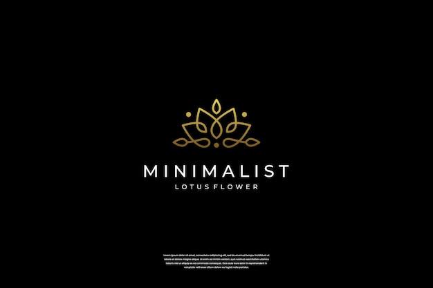 Минималистичный элегантный дизайн логотипа в виде цветка лотоса с линейным арт-стилем