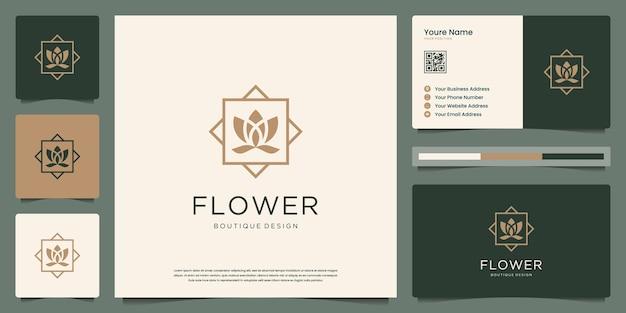 ミニマリストのエレガントな蓮の花。ロゴは、スパ、美容、サロン、スキン、名刺に使用できます