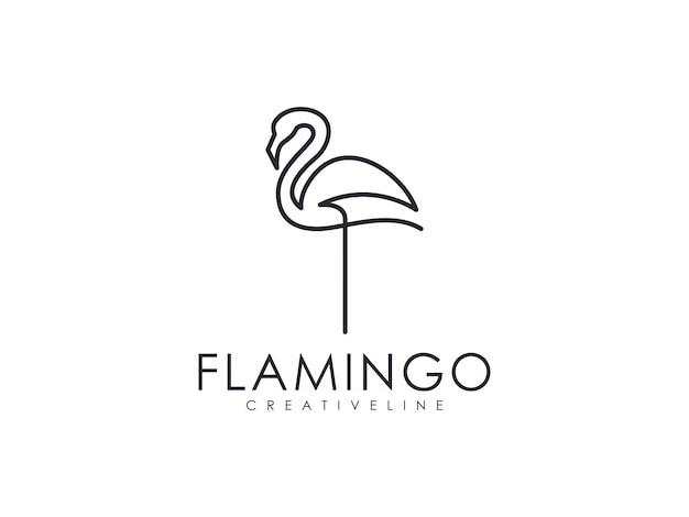 Минималистский элегантный роскошный фламинго с уникальным контуром логотипа
