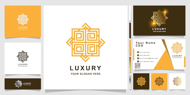Минималистичный элегантный роскошный шаблон логотипа орнамента с дизайном визитной карточки.
