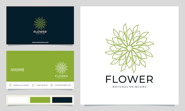 Minimalist elegant modern flower logo design inspiration, for salons, spas, skincare, boutiques, with business cards