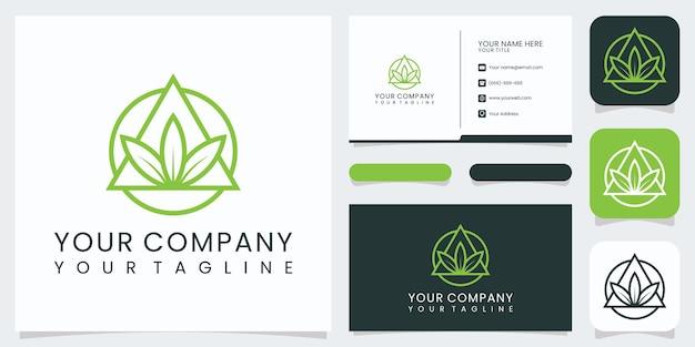 미니멀한 우아한 자연 로고와 명함 premium vector