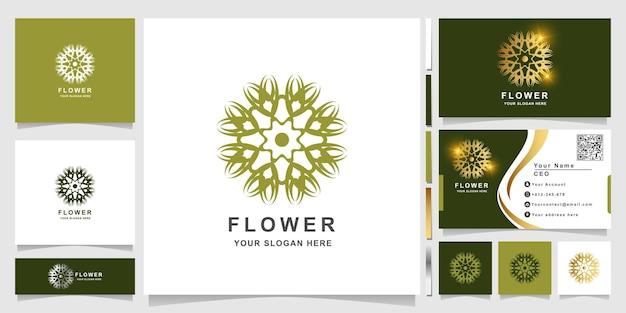 명함 디자인의 미니멀한 우아한 장식 꽃 로고 템플릿