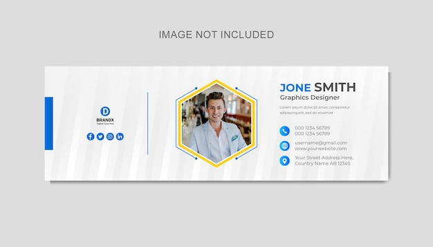 Minimalist email signature template design or email footer and personal social media cover