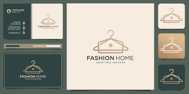 クリエイティブな家のデザインと名刺テンプレートのインスピレーションを備えたミニマリストのファッションハンガーのロゴ。