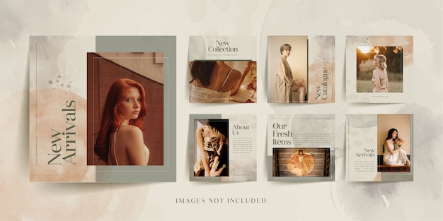 Minimalist fashion instagram social media post  template