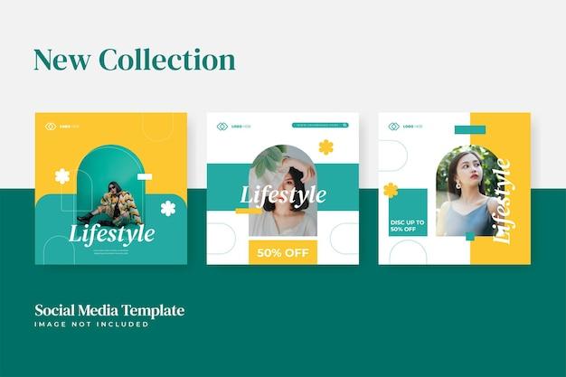 Minimalist fashion lifestyle social media template collection
