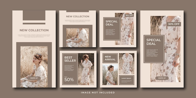 Minimalist fashion sale social media post and stories template set collection