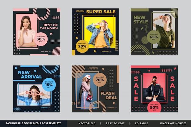 Minimalist fashion sale square banner template set