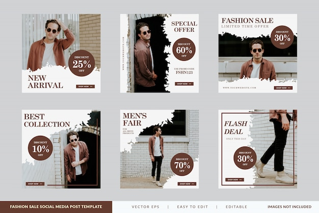Minimalist fashion sale square banner template set