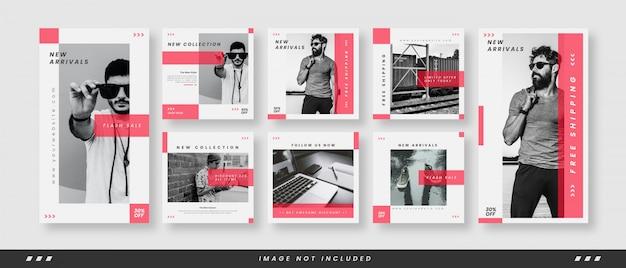 Minimalist fashion social media banner template set