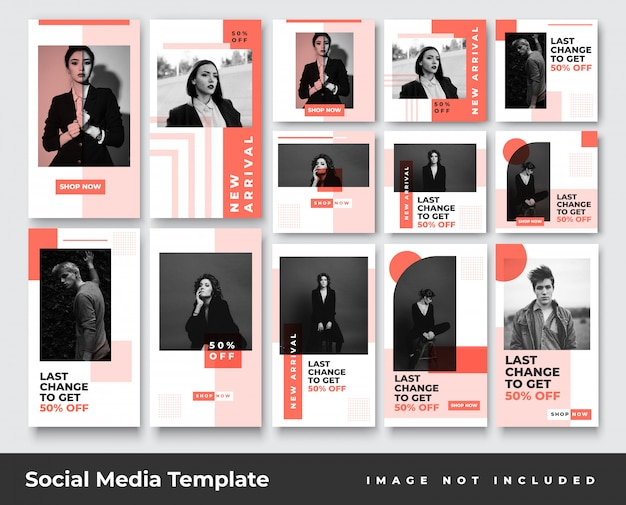 Minimalist fashion social media instagram stories and feed post banner bundle