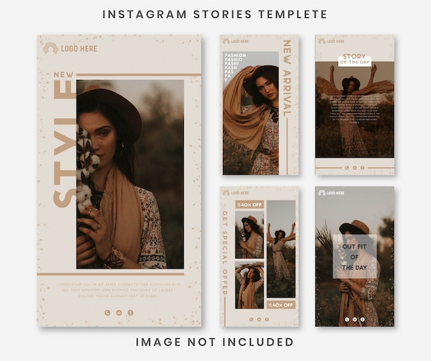 Minimalist fashion social media instagram stories and feed post bundle template