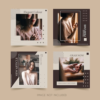 Minimalist fashion social media instagram template bundle post