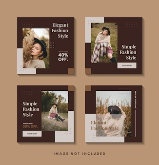 ミニマリストファッションソーシャルメディア投稿テンプレートコレクション