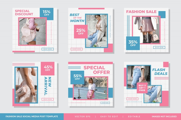 Minimalist fashion square banner template set