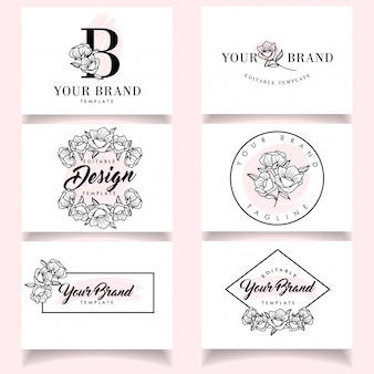 Minimalist feminine logo templates set with elegant business card