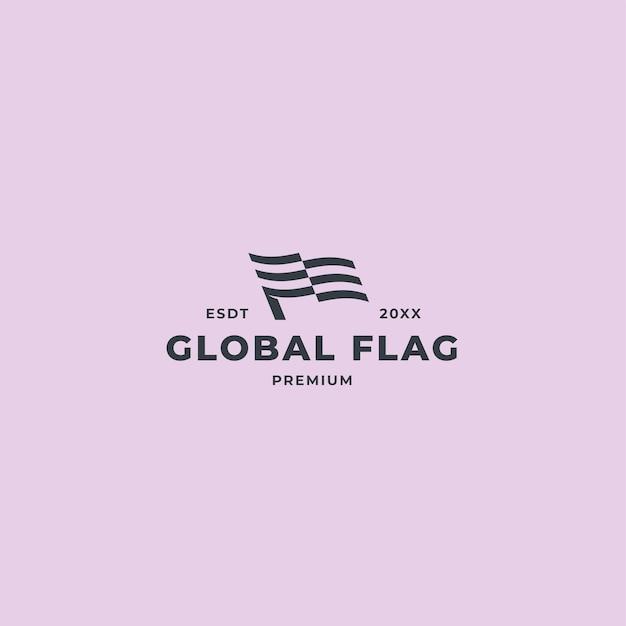 Минималистский флаг логотип с концепцией дизайна волны негативных полос
