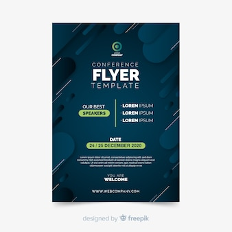 Minimalist flat conference flyer template