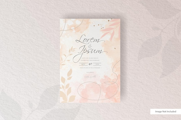 Minimalist floral arrangement wedding invitation template with abstract watercolor