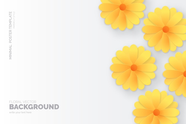 Minimalist floral background with paper cut daisies