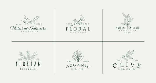 ミニマリストの花の植物のロゴのコレクション