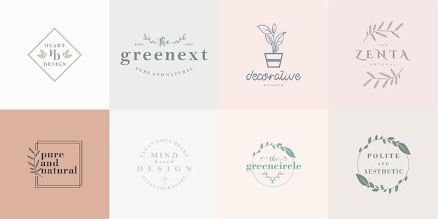 花屋や企業のためのミニマリストの花のロゴコレクション