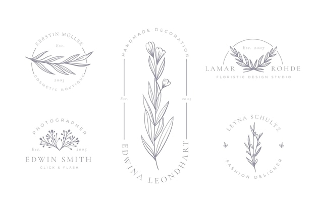 Минималистичная коллекция цветочных логотипов