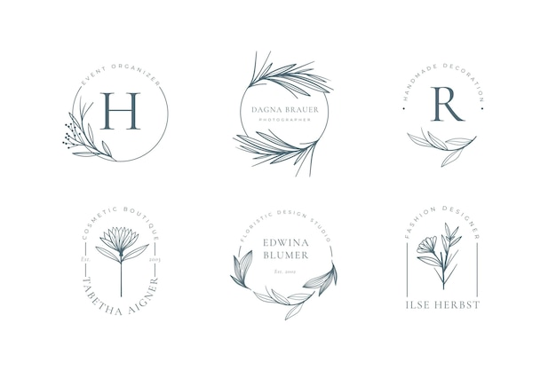 Minimalist floral logo collection