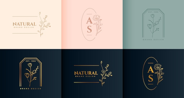 Minimalist floral logo set in decorative style