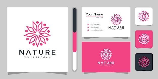 美容、化粧品、ヨガ、スパのためのシンプルなフローラルローズ。ロゴと名刺