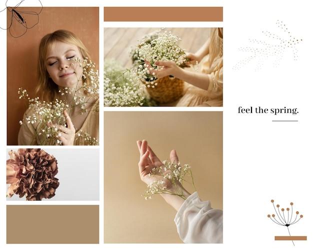 ミニマリストの花の季節の春の写真のコラージュ