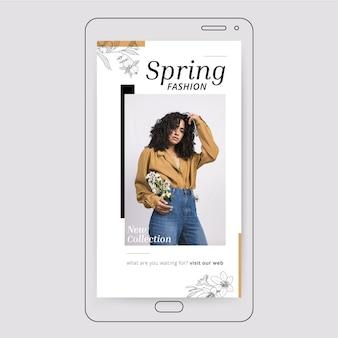 ミニマリストの花の春のインスタグラムストーリー