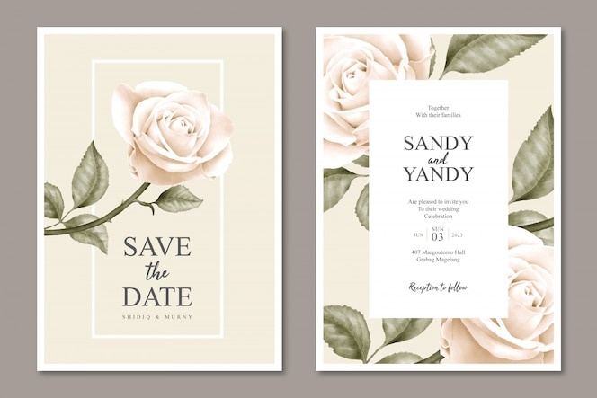 Minimalist floral wedding card template design