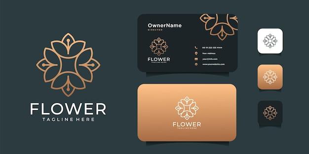 ミニマリストの花の美しさのロゴデザインスパ装飾コンセプト。