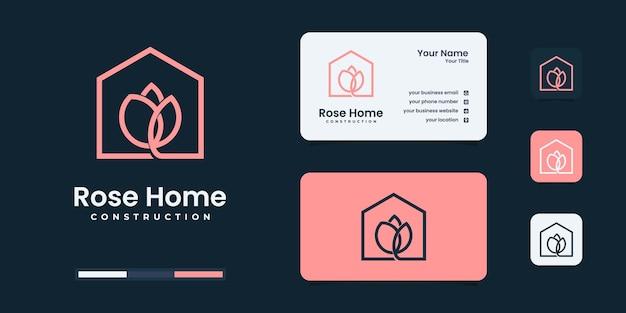 ミニマリストの花の家のロゴデザインのインスピレーション。あなたのビジネスのためのエレガントなロゴ。