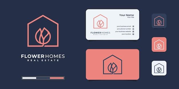 ミニマリストの花の家のロゴのデザインテンプレート。あなたのビジネスのための自然の家のロゴ。