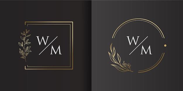 ミニマリストの花のロゴのコンセプトサークルとボックスのテンプレート