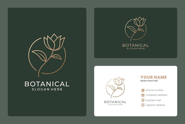 名刺付きミニマリストの花のロゴのデザイン