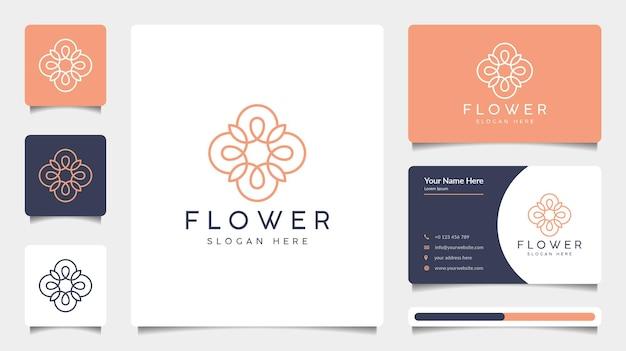 라인 아트 스타일과 명함 템플릿으로 미니멀리스트 꽃 로고 디자인