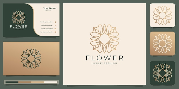 Minimalist flower logo luxury beauty rose for salon fashion skin care cosmetic abstract lotus yoga and spa products logo templates with business card design premium vector