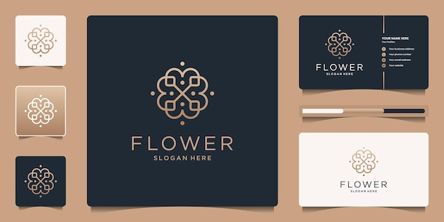 Minimalist flower logo ornament with line art style. luxury template business card design.