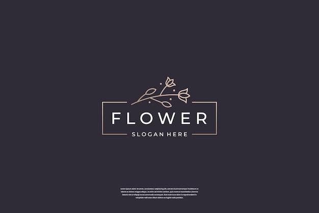 Minimalist flower rose logo design template.